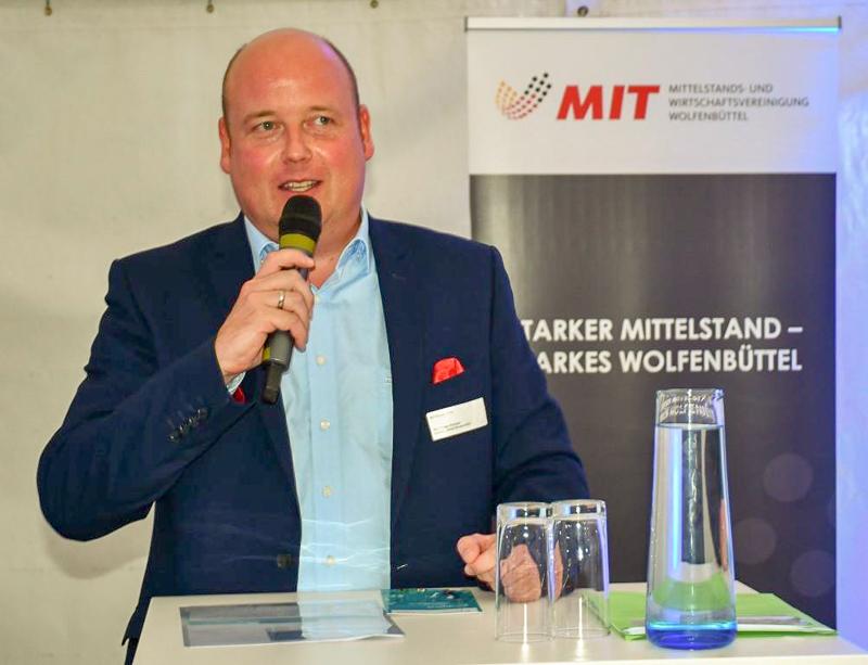 MIT-Vorsitzender Holger Bormann bei der Begrüßung.